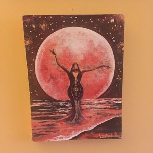 hand made Wall Art - Moon Girl Art / painting on wood / 10.5 X 8""